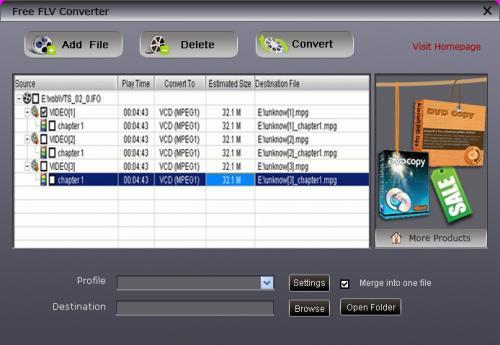 โปรแกรมแปลงไฟล์ Free FLV Converter