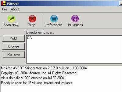 โปรแกรมสแกนไวรัส McAfee Labs Stinger