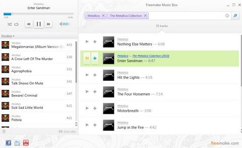 โปรแกรมค้นหาเพลง โปรแกรมฟังเพลง Freemake Music Box