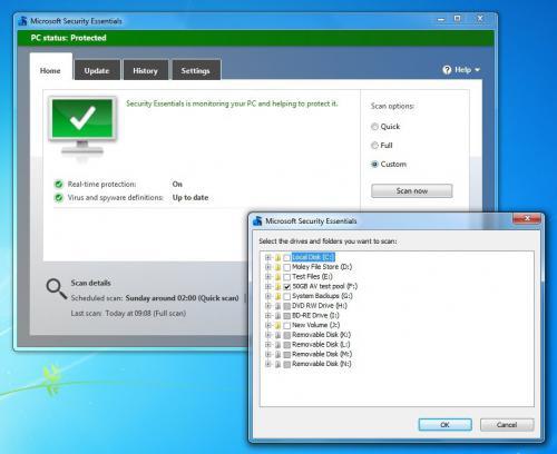 โปรแกรมสแกนไวรัส Microsoft Security Essentials