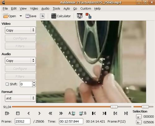 โปรแกรมตัดต่อวีดีโอ Avidemux