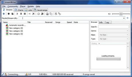 โปรแกรมบันทึกเสียง streamWriter