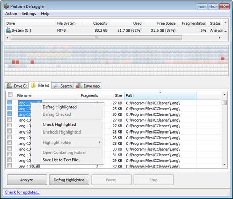 โปรแกรมจัดเรียงข้อมูล Defraggler