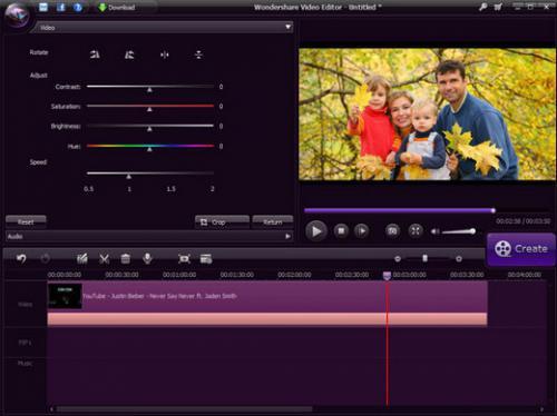 โปรแกรมตัดต่อวีดีโอ Wondershare Video Editor