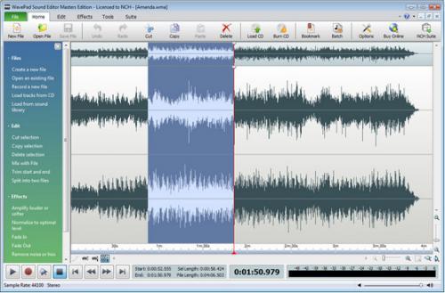โปรแกรมแต่งเสียง WavePad Sound Editor