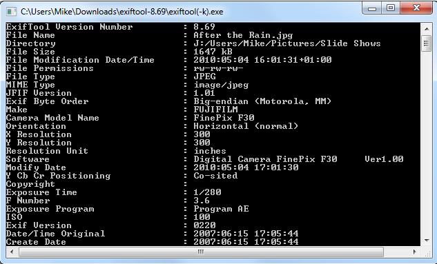 โปรแกรมแก้ไขข้อมูลจำเพาะ ExifTool