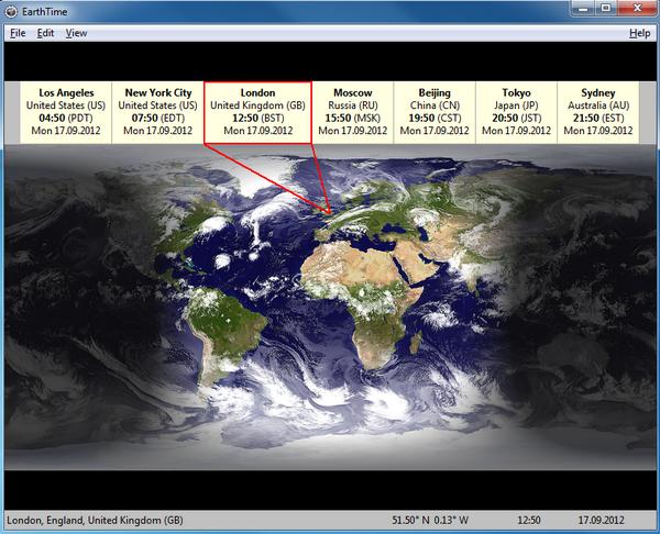 โปรแกรมดูเวลาโลก EarthTime