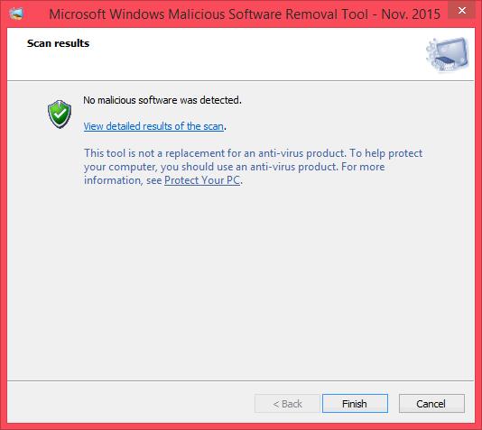 โปรแกรม Microsoft Windows Malicious Software Removal Tool