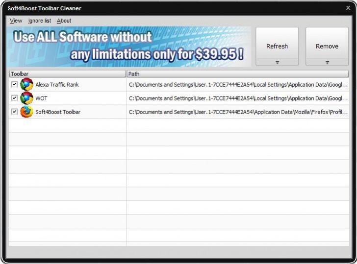 โปรแกรมลบปลั๊กอินเว็บเบราว์เซอร์ Soft4Boost Toolbar Cleaner