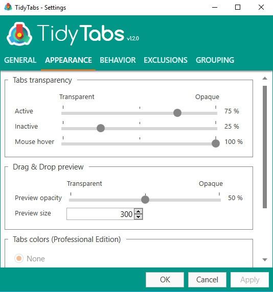 โปรแกรมจัดกลุ่มแท็บหน้าต่าง TidyTabs
