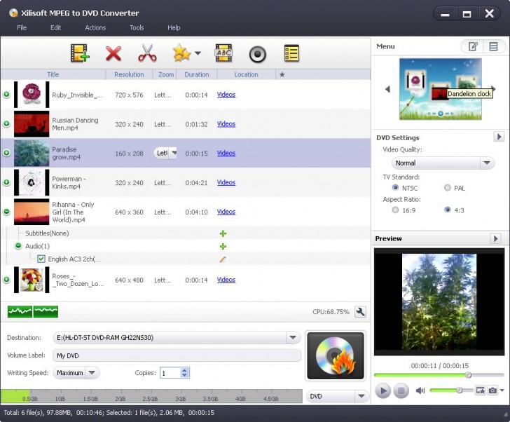 โปรแกรมแปลงไฟล์ Xilisoft MPEG to DVD Converter